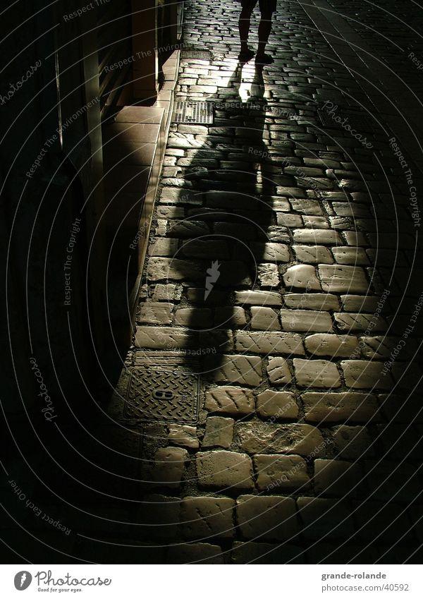 shadow Dark Provence Black Man Shadow Stone Street Black & white photo