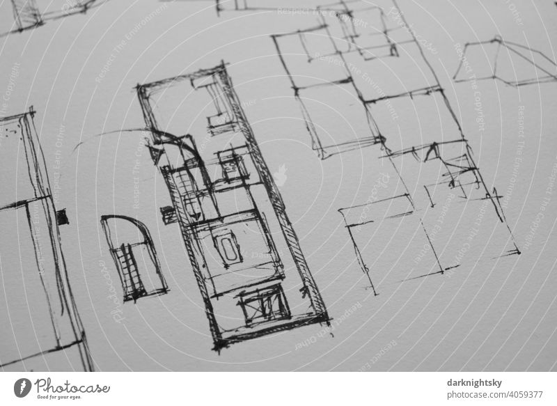 Architectural drawing as a sketch for a preliminary design in ink on paper Drawing Build Planning bulking Conceptual design planning details Study or Survey