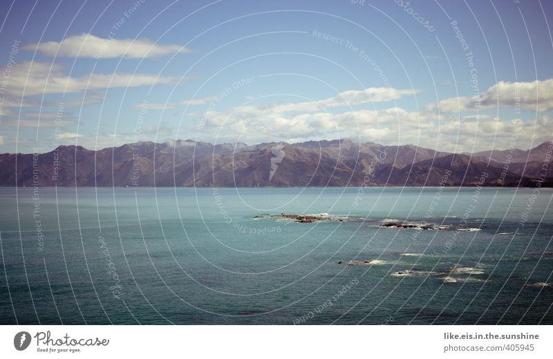 Nature Summer Ocean Landscape Clouds Environment Mountain Coast Rock Waves Beautiful weather Elements Peak Alps Hill New Zealand