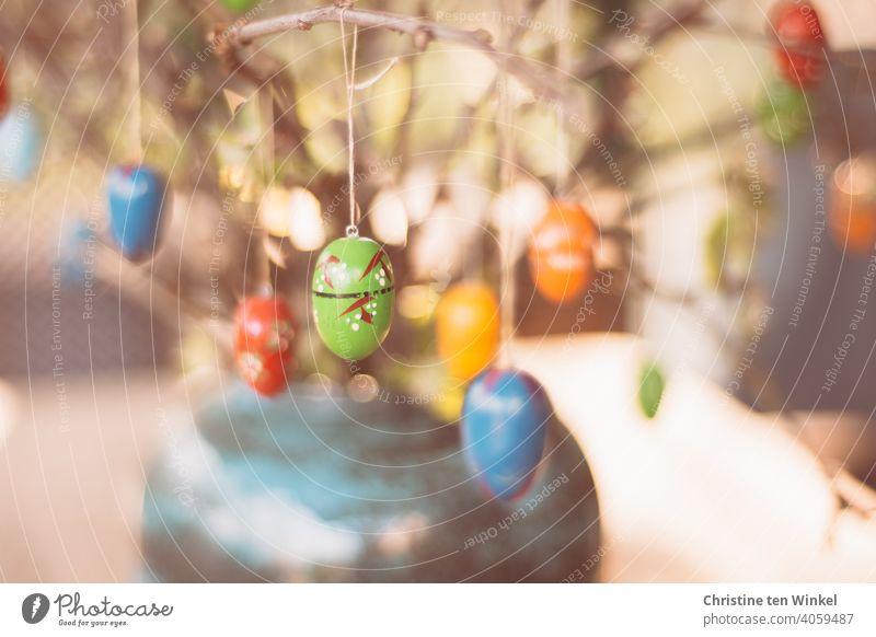 Colorful wooden Easter eggs hang from the branches, which are placed in a vase as Easter decoration Decoration Wood Eggs variegated Vase Easter bouquet Bright
