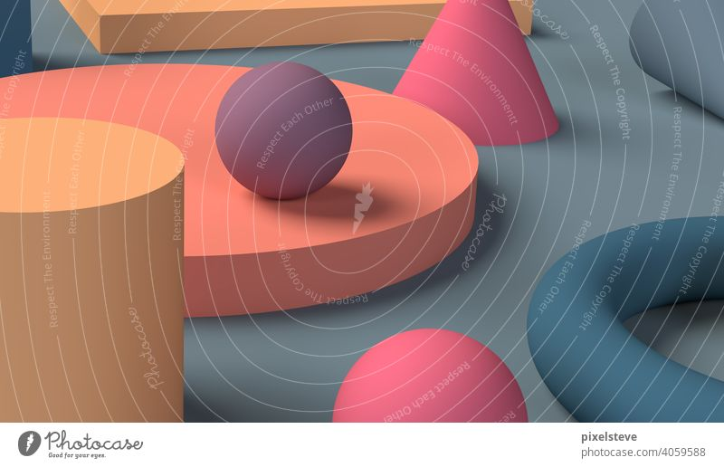 Various geometric bodies on a table surface. High resolution 3D rendering. shape Background picture Geometry Sphere cubes variegated areas Body Room game