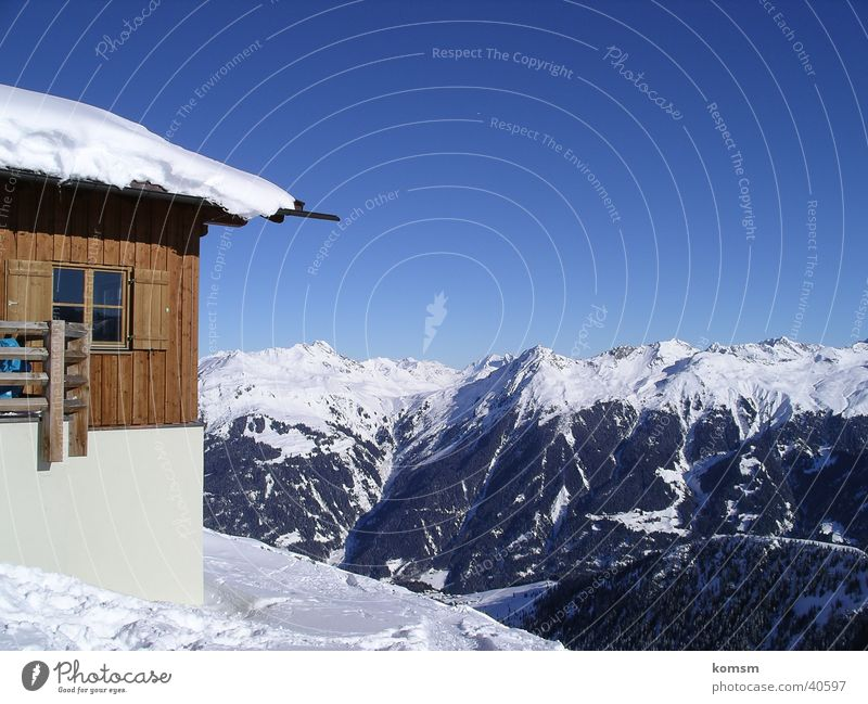 Cottage Montafon Austria Winter Mountain Hut sheik Sky Blue Après ski board