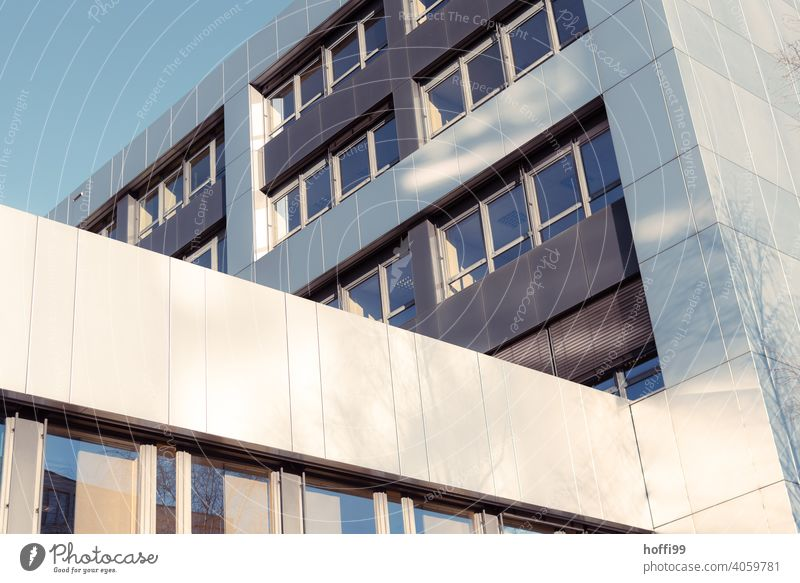 sunlit reflecting office facade Cladding Facade Reflection Architecture Abstract Modern Office building Line High-rise Window Building Esthetic