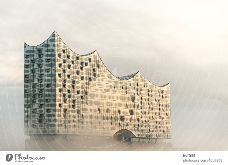 foggy morning with sun and floating modern architecture Elbe Philharmonic Hall Fog Shroud of fog Landmark Hamburg Architecture Exceptional Facade Culture Modern