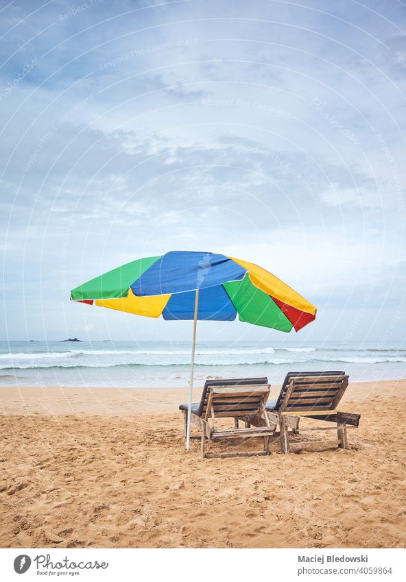 Umbrella with two sunbeds on an empty tropical beach, Sri Lanka. vacation umbrella getaway relax peaceful chair lounger sky water no people nature seascape