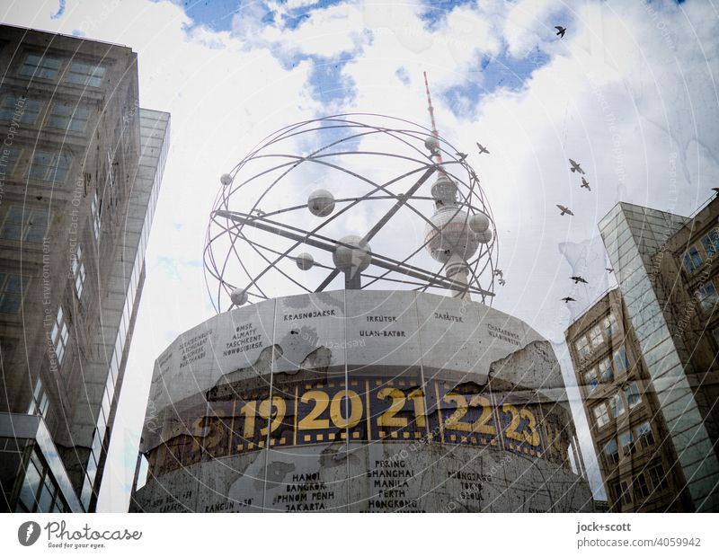 All the time in the world in the big city World time clock Sky Clouds Tourist Attraction Alexanderplatz Digits and numbers Original Time zones Planet Retro