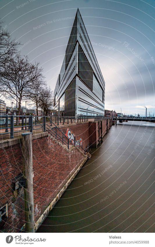 Vertex - Harbour edge Hamburg Harbor city quay wall ZDF Elbe Building Triangle Oberbaumbrücke mirrored Mirror Glass Modern Point