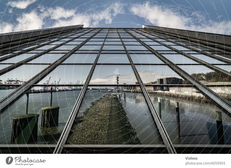 Mirror on the wall - Dockland Port City Harbour Manmade structures Building Wall (building) Wall (barrier) Architecture Stairs Facade Tourist Attraction