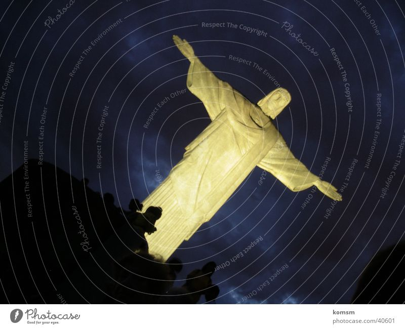 Brazil Statue of Christ Night Light Jesus Christ South America Sky