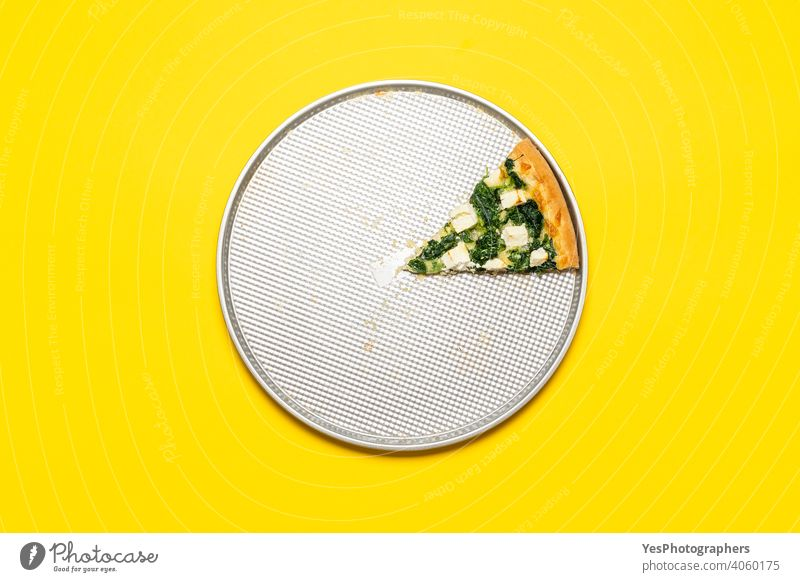 Slice of vegetarian pizza on a tray, top view on a yellow background. above view baked chart cheese crust cuisine cut out delicious dinner eating fast food feta