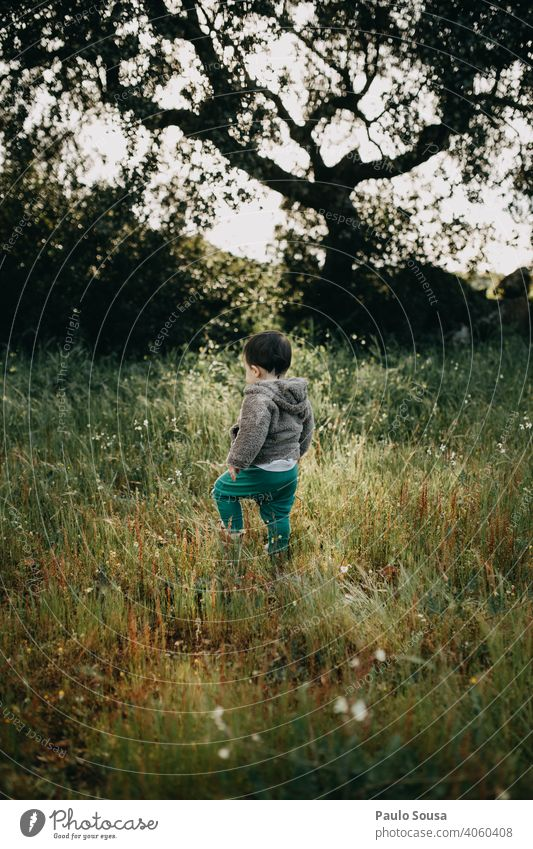 Child walking in the field Nature Natural explore 1 - 3 years Caucasian Rear view Forest Field Spring Spring fever Environment Multicoloured Cute Authentic