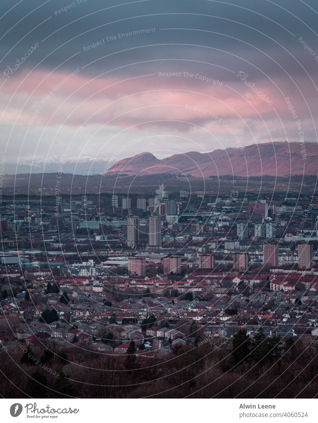 View of Glasgow at dusk Scotland uk united kingdom City urban Mountain Dusk Evening Skyline cityscape view