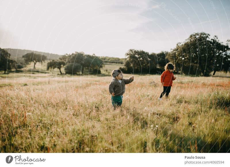 Brother and sister playing in the fields Flower meadow Brothers and sisters Family & Relations 1 - 3 years Human being Child Infancy Colour photo Toddler