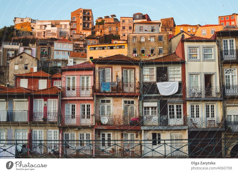 View on old buildings in Porto, Portugal. portugal city europe porto sunset ancient architecture cityscape skyline travel town view landmark oporto scenic