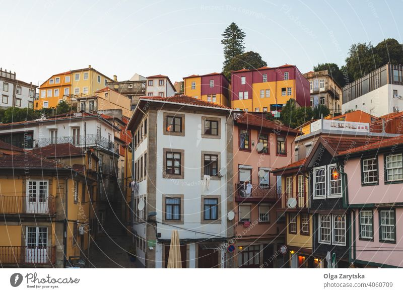 View on old colorful buildings in Porto, Portugal. portugal city europe porto sunset ancient architecture cityscape skyline travel town view landmark oporto