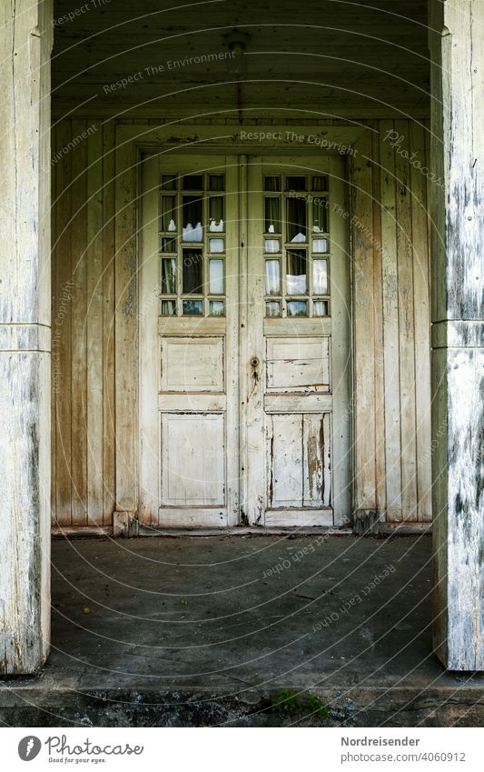 Mysterious door on an old wooden house Old Architecture Wood House (Residential Structure) Entrance Manmade structures Patina front door Mystic mysticism