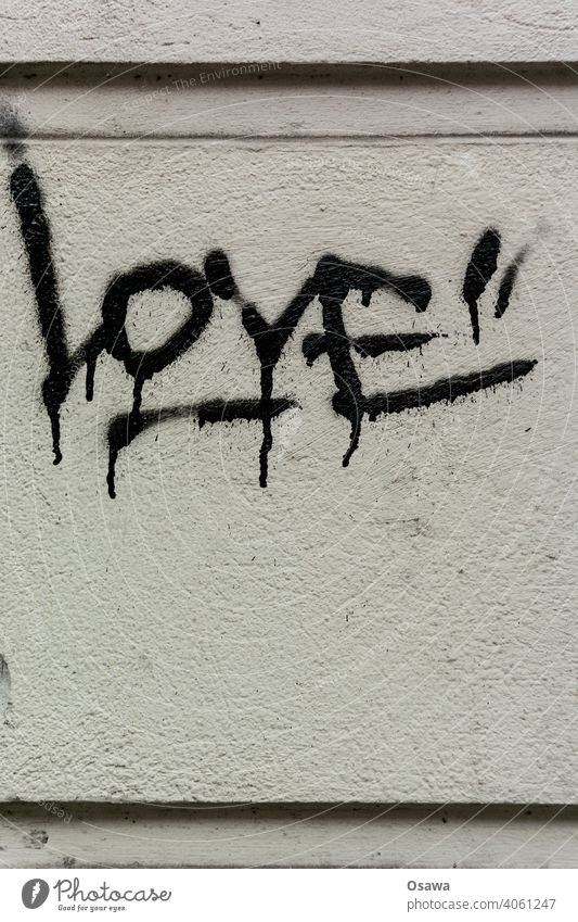Rough Love Subculture Subdued colour Gray Handwritten Authentic Remark Deserted Exterior shot Wall (building) Wall (barrier) Graffiti Facade Word