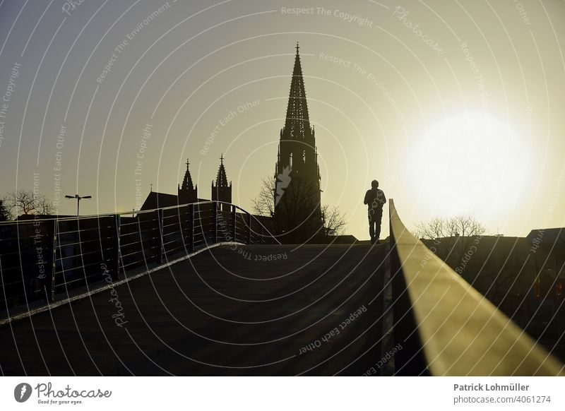 Radiance munster of freiburg Spring Silhouette Belief Lonely Hope religiousness come into bloom Relief Human being Man Shadow Church sunset off Bridge