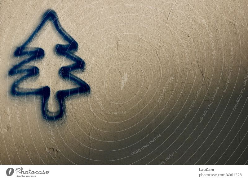 Blue fir tree as graffiti on bright house wall with shadow Graffiti graphical Abstract abstract Spray spray Shadow Christmas Christmas tree Nature Art