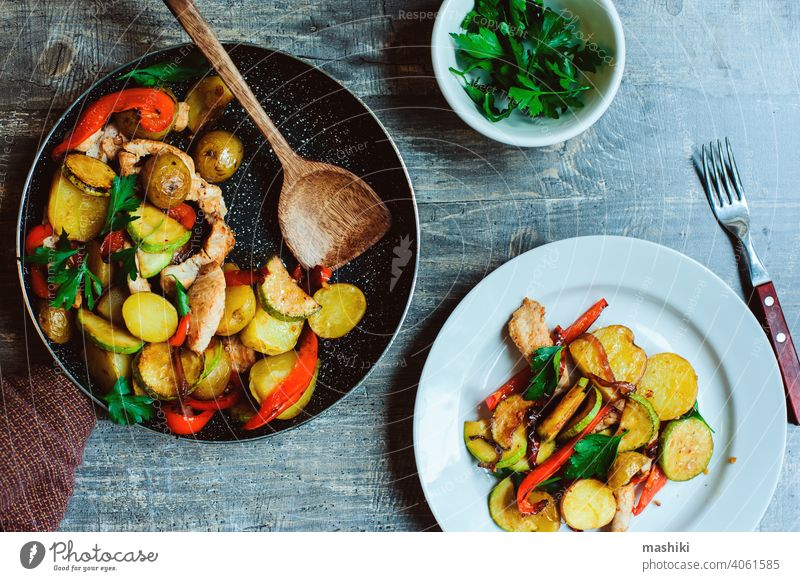 tasty healthy farm style dinner - chicken breast baked with seasonal vegetables potato pepper meat turkey food meal roasted zucchini lunch cuisine grilled onion
