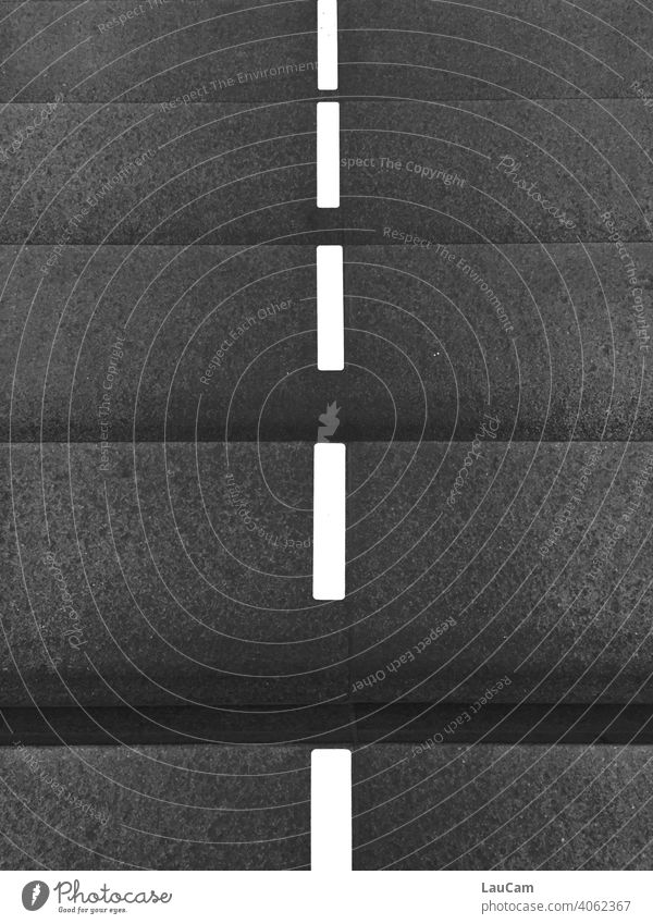 Steps with dividing lines at the Berlin main station in the Corona period White Gray Black Anthracite strokes dash mark Marker line Deserted Line Exterior shot