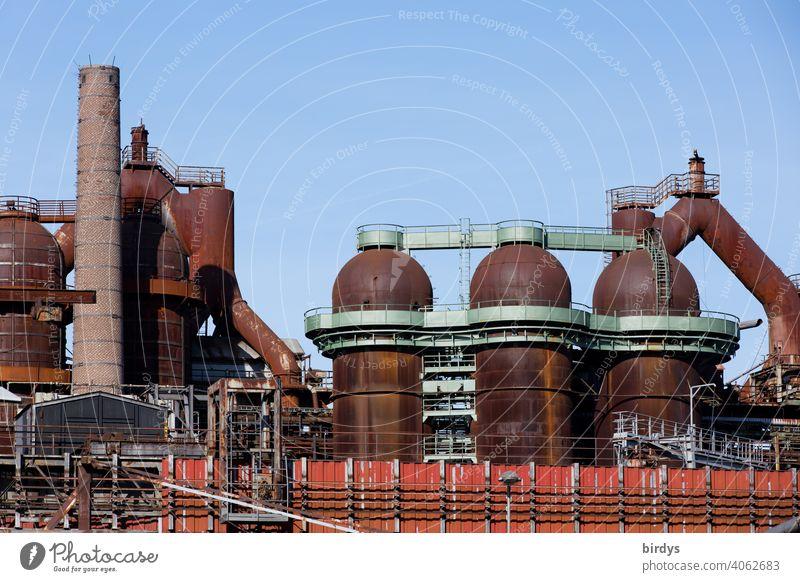 Steelworks, colliery , industrial monument Völklinger Hütte, blast furnaces, old rusty pipelines . Steel production Steel factory Mine Blast Furnaces Industry