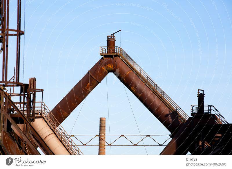 Steelworks, colliery, industrial monument Völklinger Hütte, blast furnaces, old pipelines with valve Steel factory Mine Blast Furnaces Industry