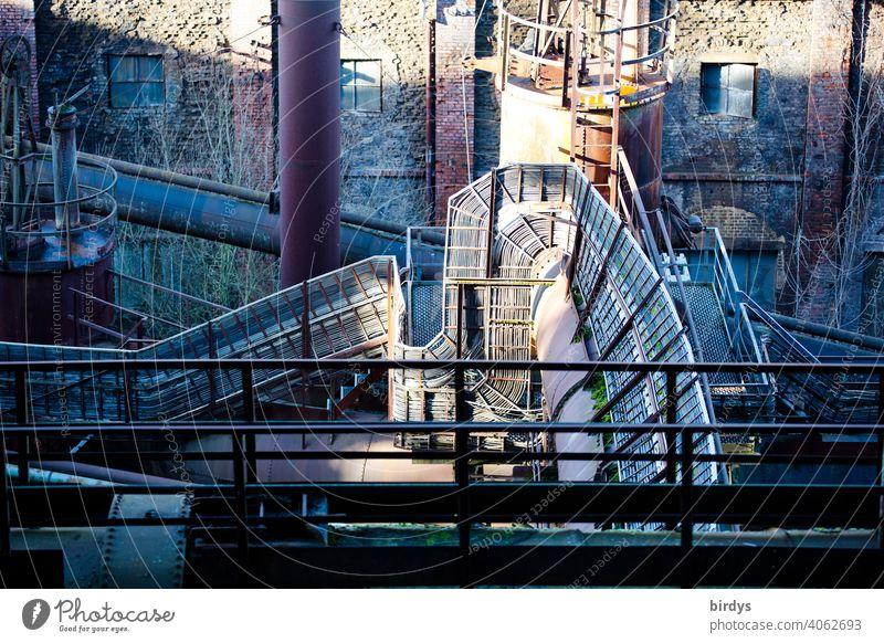 Steel mill, colliery, industrial monument Völklinger Hütte, cable lines, industrial plant Steel factory Mine Industry Industrial heritage Steel production
