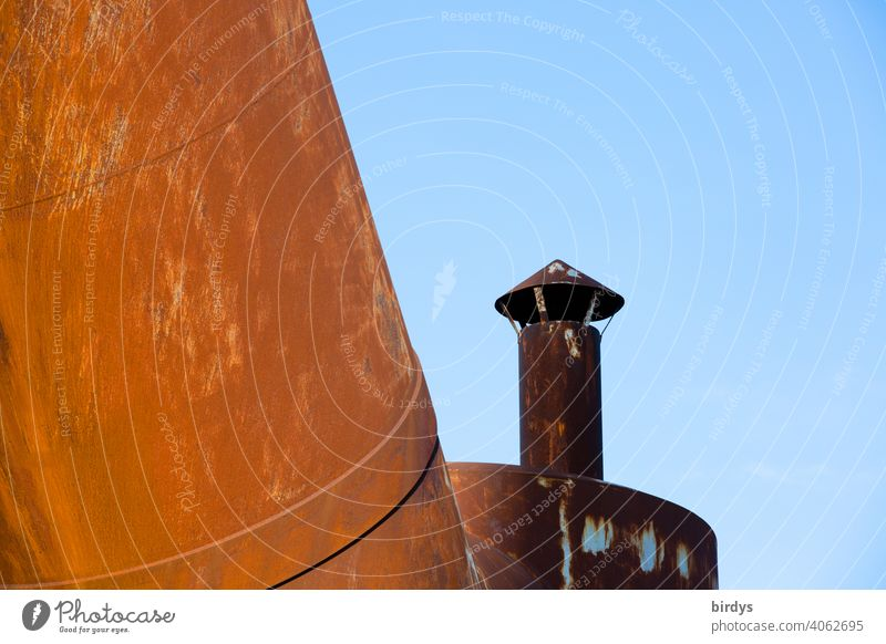 Steelworks, colliery, industrial monument Völklinger Hütte, blast furnaces, old rusty pipelines with chimney Steel factory Mine Blast Furnaces Industry