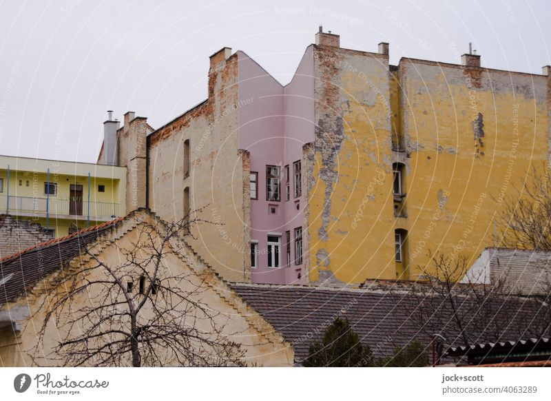 a suburb of Budapest on a dull day Facade Structures and shapes Light (Natural Phenomenon) Style Subdued colour Architecture dreariness Weathered