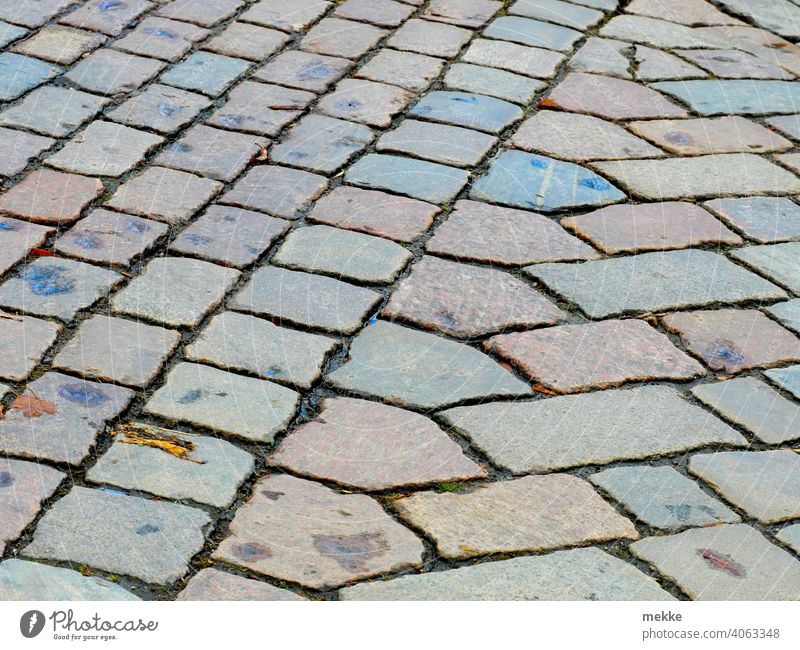 Transition of different patterns of pavement Street paving Stone off Pattern Urban building brick Tradition background structure paving stone Cobblestones