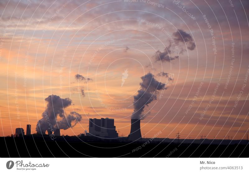 Power station at dusk cooling tower Environmental pollution Coal power station Industrial plant Climate change Environmental protection Chimney CO2 emission