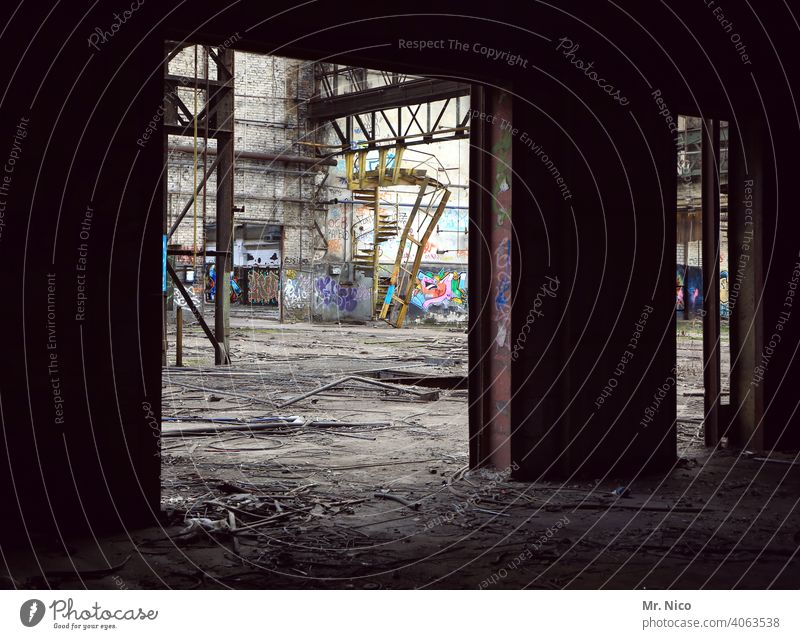 Old factory building lost places Ruin Ripe for demolition Industrial plant Factory Building for demolition Architecture Dirty Industrial wasteland Destruction
