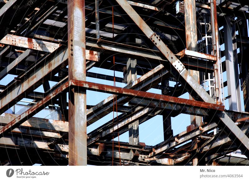steel structure Steel construction Perspective Construction site Scaffold Metal Steel carrier Architecture metal construction Industrial heritage Steel factory