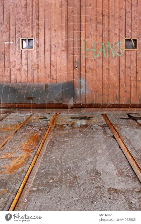First names I Hans Building Goal door rails Wooden gate Closed Wooden door Main gate Rust Entrance Old Structures and shapes Door handle Hatch Repair work