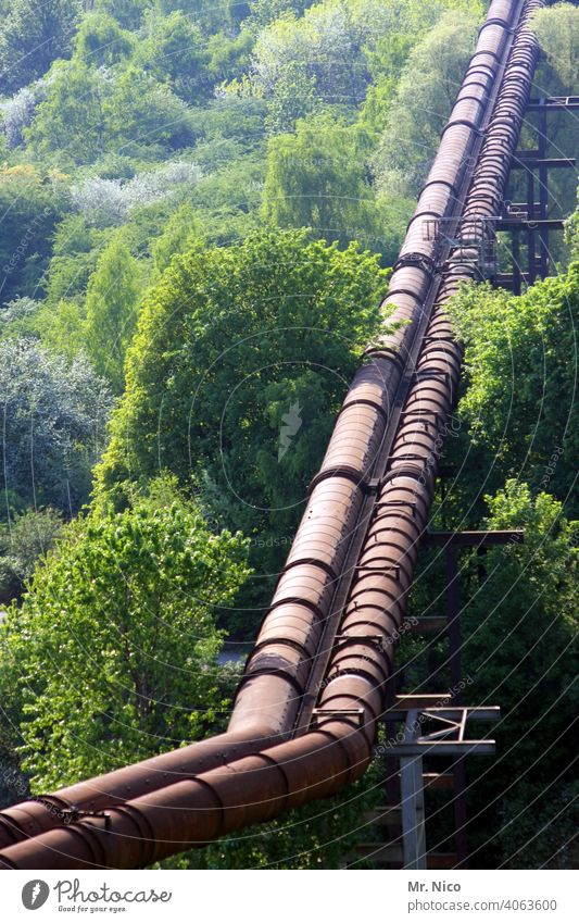 Pipeline with kink Industry Forest Technology Line Environment Gas Nature Landscape Engineering Construction Force Energy Infrastructure Conduit Long water pipe