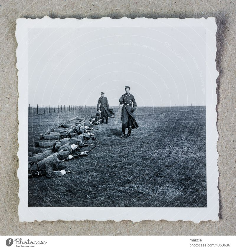 Photo of a Wehrmacht exercise, World War 2. Second World War Photography tutorial Rifle Superior Theater of war Exterior shot Past Old Grief Nature Deserted