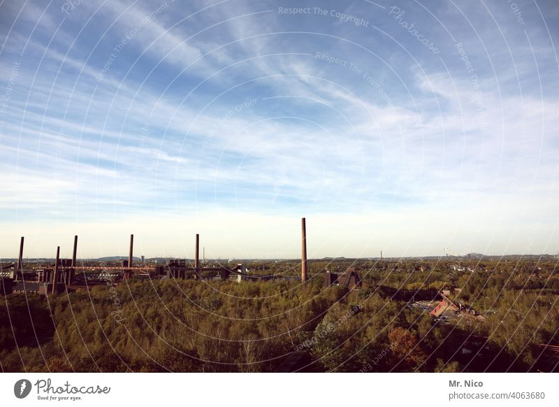 Colliery Zollverein Industry Buildings steel construction colliery Clouds in the sky Sky Architecture Mine Manmade structures installations Economy Environment