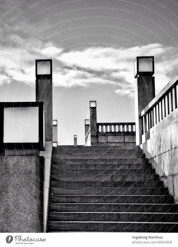 Steps with square lampposts, black and white Stairs Architecture Structures and shapes Sharp-edged Exterior shot Day Pattern lines lines and shapes Perspective