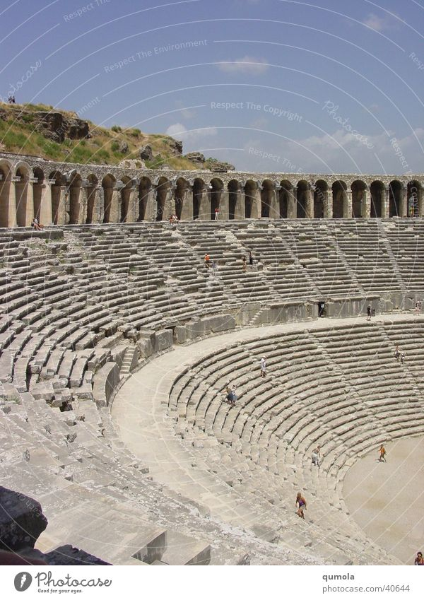 Theatre in Aspendos/Cutout Seating Row of seats Light Architecture Stairs Old Graffiti
