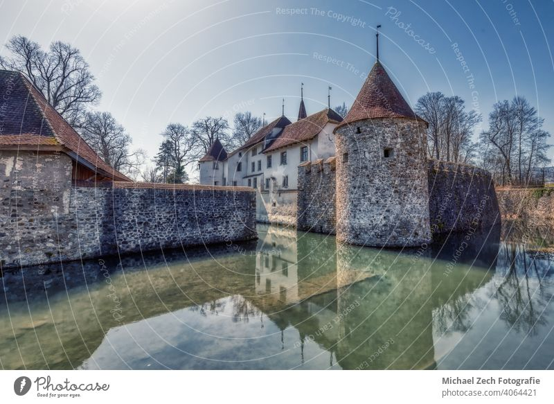 HDR image of the famous castle in Hallwyl in Switzerland Trip Lock hallwyl Castle Historic Architecture Building Tourist Attraction Fortress Landmark Deserted