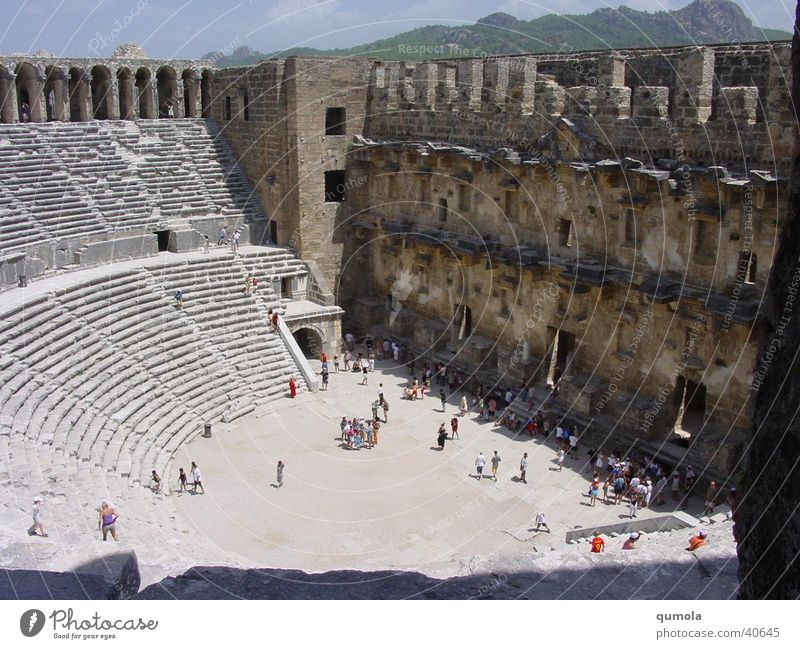 Theatre in Aspendos Colour photo Exterior shot Day Light Shadow Sunlight Central perspective Vacation & Travel Tourism Sightseeing Summer vacation Stands