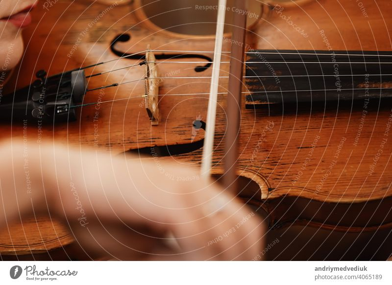 Close-up of a violin with a bow. Brown orchestra violin. Fingers on violin keyboard. music classic instrument string nails nature flowers beauty red people art