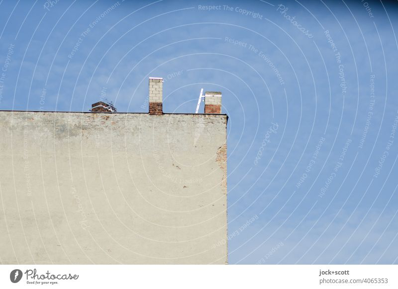 Wall without view but with chimney Fire wall Architecture Cloudless sky Chimney Symmetry Structures and shapes Neutral Background house wall Berlin Simple