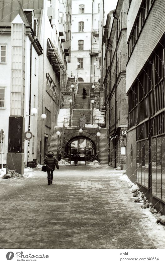 stockholm Stockholm Alley Entrance Portrait format Europe Stairs Black & white photo