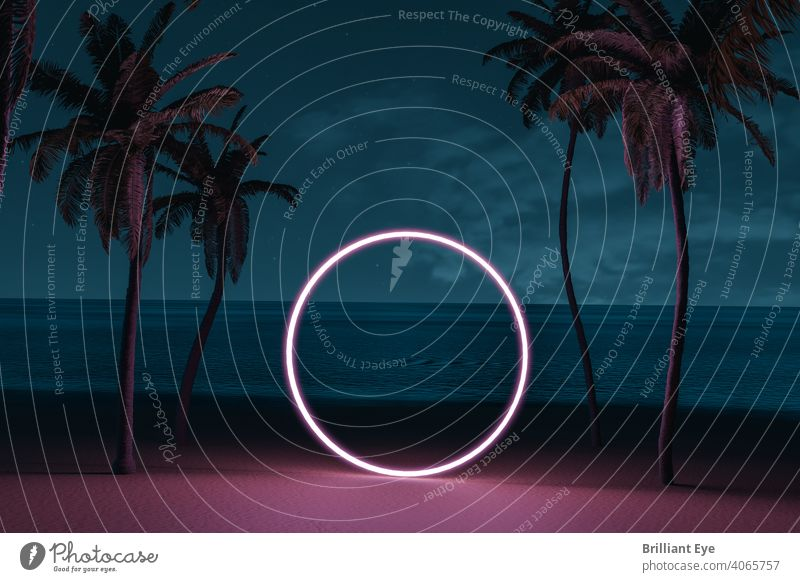 lighten circle shape on beach environment and palm avenue 3d rendering abstract background beachfront beautiful blue bright coast copy space decoration