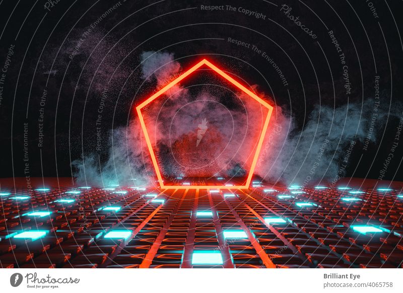 red neon pentagonal shape on luminous button base and surrounded by smoke 3D Abstract background Blue blurriness Bright Colour colourful concept Concrete