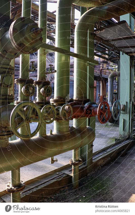 industrial fittings shut-off wheels shut-off valves handwheels Pipelines reeds Cables Steel factory smelting works Blast furnace decommissioned Erstwhile