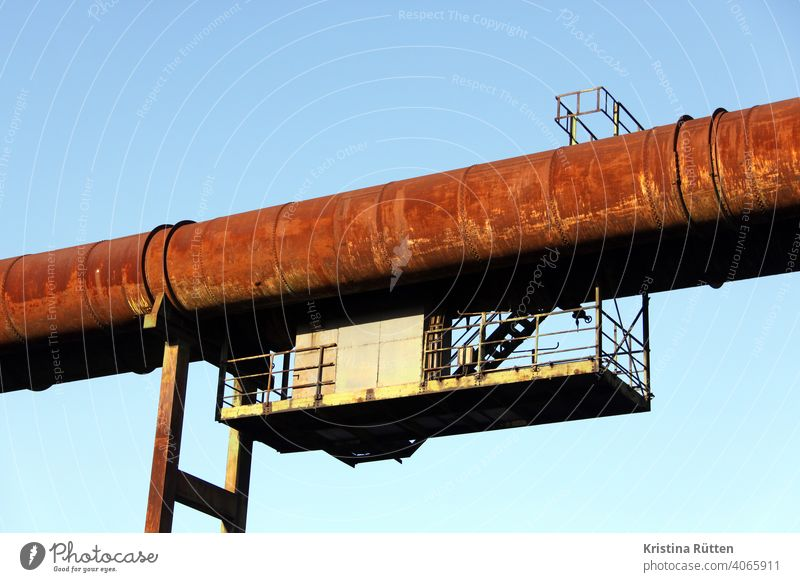 tube with substructure conduit Conduit Substructure Steel Metal Rust rusty steel construction Steel factory smelting works Blast furnace decommissioned