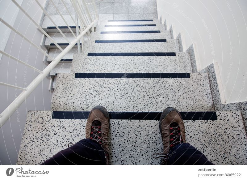 Sitting on the stairs sales Descent Downward ascent Upward Window rail House (Residential Structure) Apartment house Deserted apartment building New building